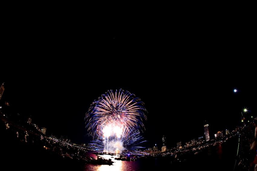 Boston fireworks with fisheye lens, copyright Jeff Tamagini
