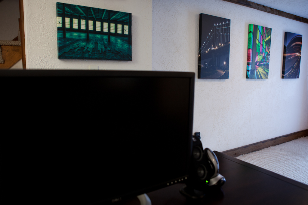 Gallery wraps from Artistic Photo Canvas adorn the walls of photographer Brian Matiash's office