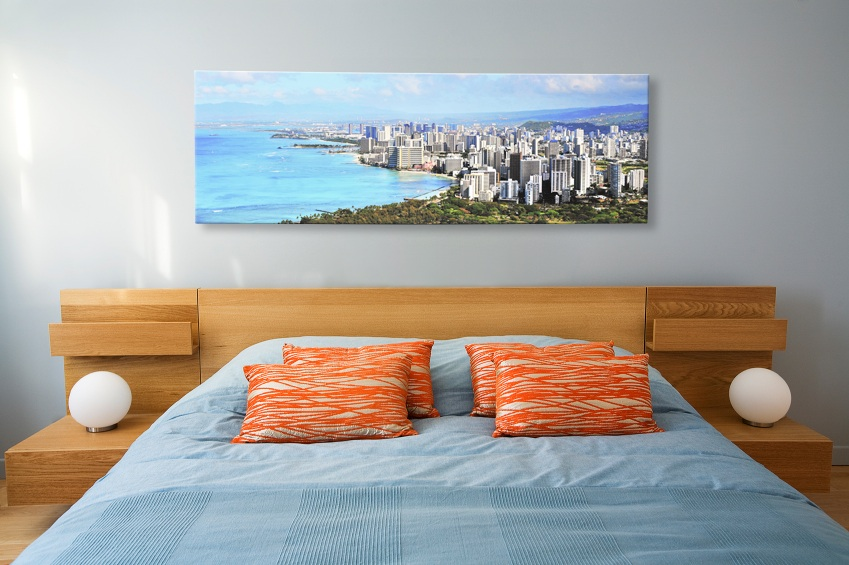 Gallery wrapped panoramic canvas print of a skyline