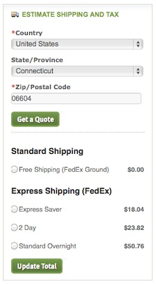 example of shipping estimate